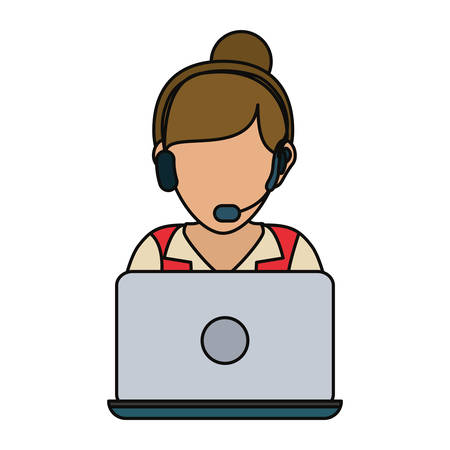 executive assistants: woman with headset and laptop computer icon over white background colorful design vector illustration
