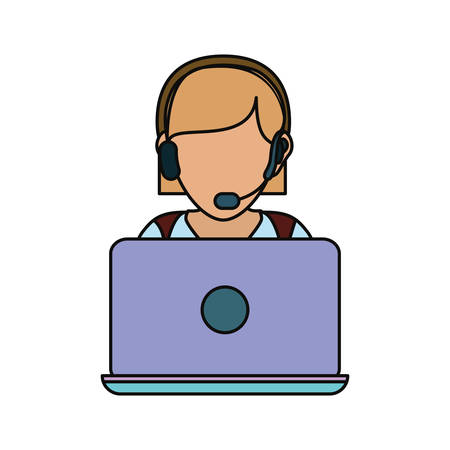 woman with headset and laptop computer icon over white background colorful design vector illustration