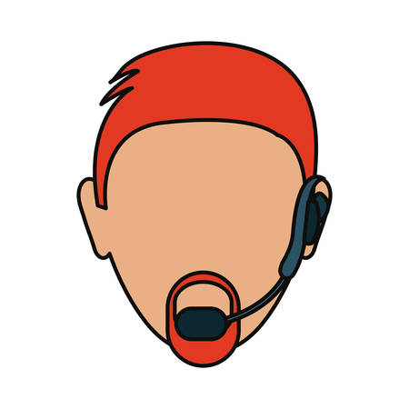 Man with headset icon over white background, colorful design, vector illustration Illustration
