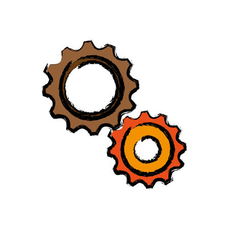 Gear wheels icon over white background vector illustration Illustration