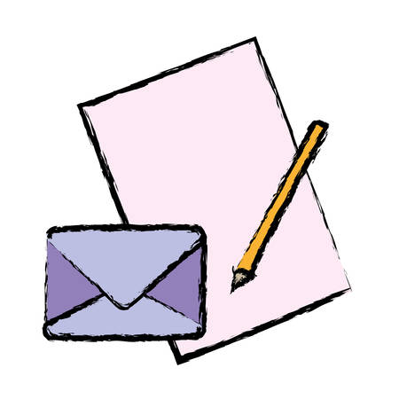 email icon: envelope and letter icon over white background vector illustration