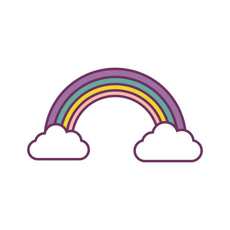 rainbow and clouds icon over white background vector illustration Illustration