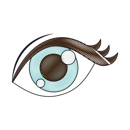 sight: Eye icon over white background vector illustration
