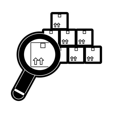 cargo boxes and magnifying glass  icon over white background vector illustration