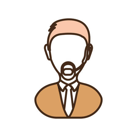 colorful  man call center over white background vector illustration