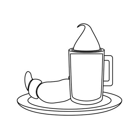 coffee drink with bread icon over white background vector illustration
