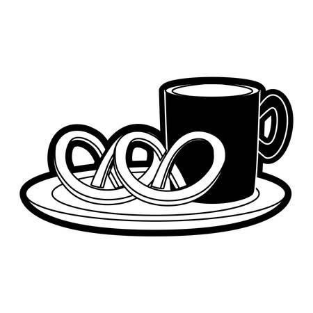 pretzel: coffee drink with pretzels icon over white background vector illustration