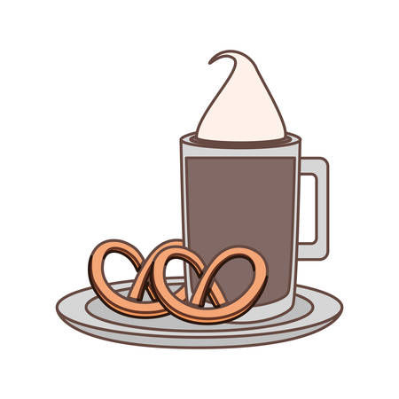 coffee drink with pretzels icon over white background vector illustration
