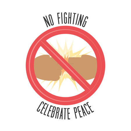 no fighting sign icon over white background colorful design vector illustration 向量圖像