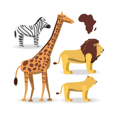 continente africano: animals of african safari over white background colorful design vector illustration