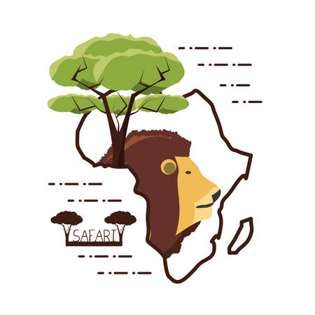 lion and tree in africa map shape over white background colorful design vector illustration Çizim