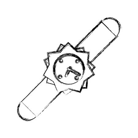 uncolored smartwatch over background vector iilustration icon Illustration