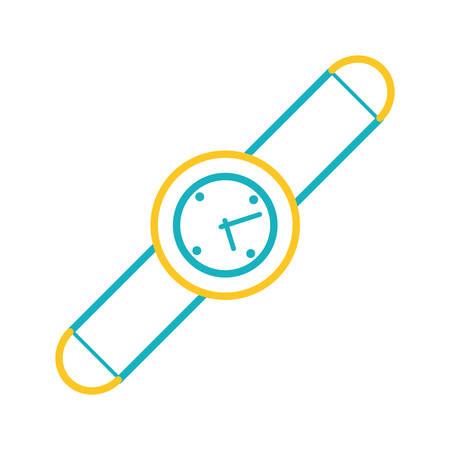 flat line colorful  smartwatch  over white  background  vector illustration Illustration
