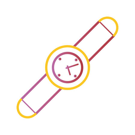 flat line colorful  smartwatch  over white  background  vector illustration Illustration
