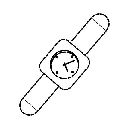 checking: flat line monocromatic  smartwatch over white  background vector illustration