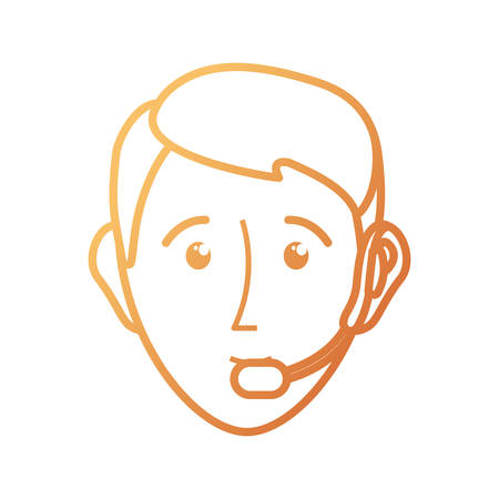 flat line colorful  face man  over white  background  vector illustration