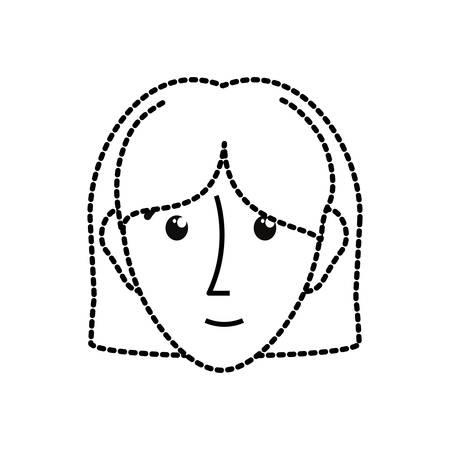 white bacground: uncolored woman sticker  ove white bacground  vector illustration