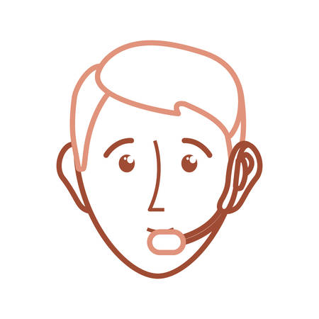 computer operator: flat  line colorful face man  call center over white  background vector illustration