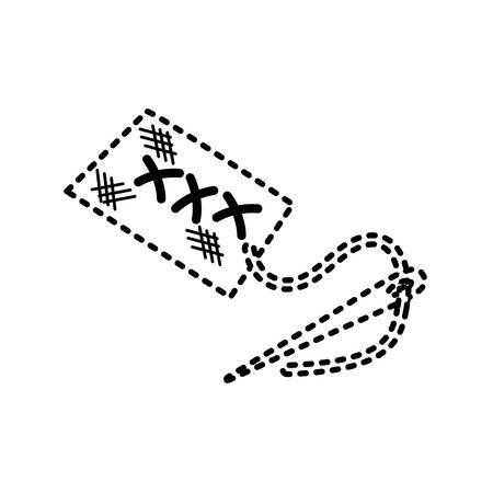uncolored  neddle  sticker  over white  background vector illustration