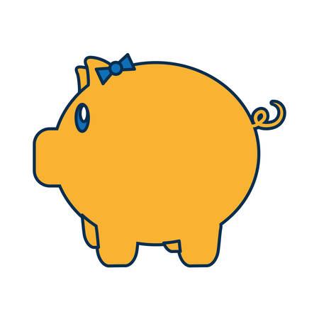 piggy bank icon over white background vector illustration