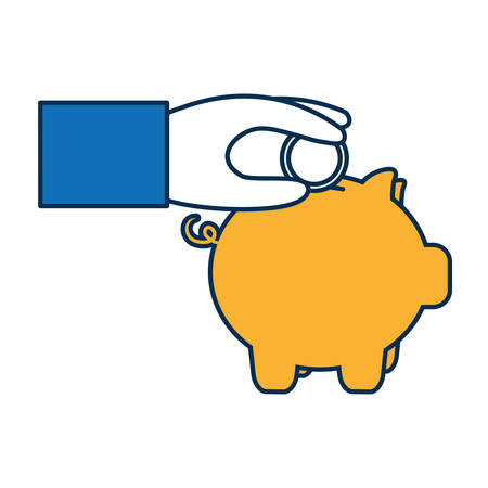 hand with piggy bank icon over white background vector illustration Illustration