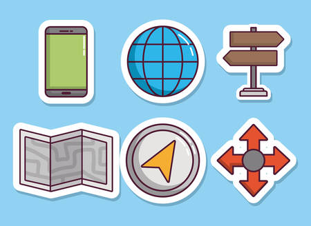 navigation and location related icons over blue background colorful design vector illustration