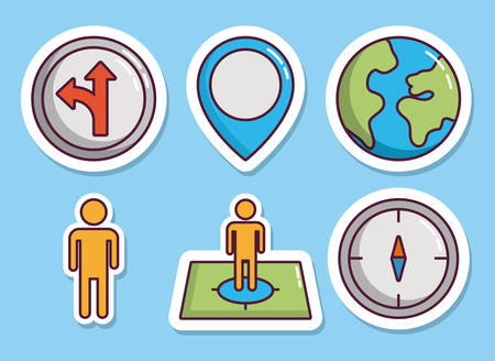 gps device: navigation and location related icons over blue background colorful design vector illustration