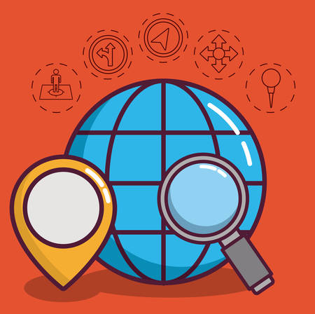 global sphere with navigation and location related icons around over orange background colorful design vector illustraiton