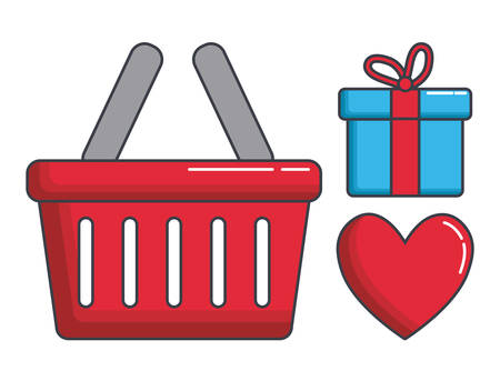 gift basket: shopping related icons over white background colorful design vector illustration