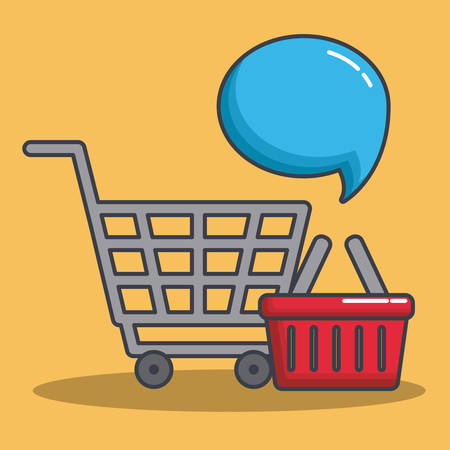 merchant: shopping cart and speech bubble icon over yellow background colorful design vector illustration