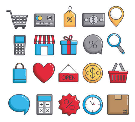 shopping related icons over background vector illustration