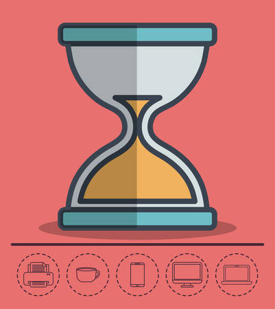 hourglass and office elements icons over red background colorful desing vector illustration
