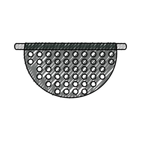 sink: colorful  bowl drainer doodle over white background vector illustration Illustration