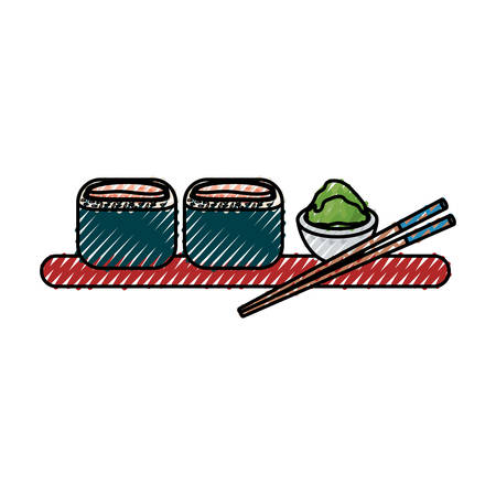 colorful sushi doodle over background  vector illustration Illustration