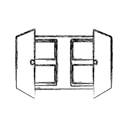 uncolored cupboard over  white   background  vector illustration