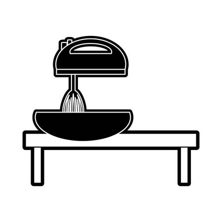 counter top: flat line monocromatic kitchen table and mixer  over white background vector illustration Illustration