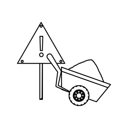 construction wheelbarrow icon over white background vector illustration