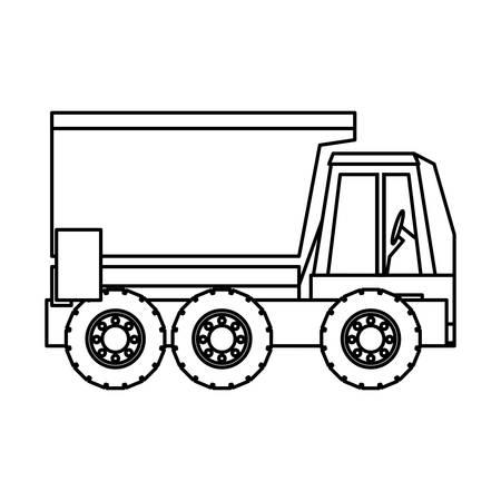 Dump truck icon over white Illustration