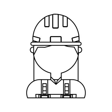 private security: Woman with safety helmet icon.