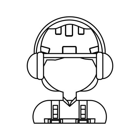 private security: man with safety helmet icon over white background vector illustration Illustration