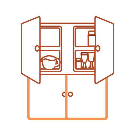 kitchen cabinets: flat line colored  cupboard over white  background  vector illustration Illustration