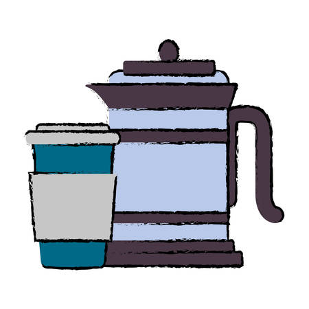 French press and coffee cup icon Illustration