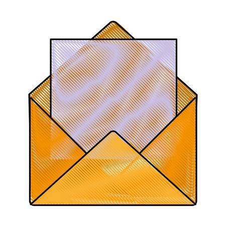 envelope and letter  icon over white background vector illustration
