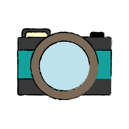 details: photographic camera icon over white background vector illustration