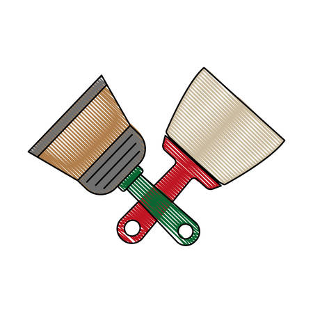 install: paint brushes icon over white background vector illustration