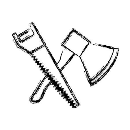vio y el icono de las herramientas martillo sobre fondo blanco ilustración vectorial