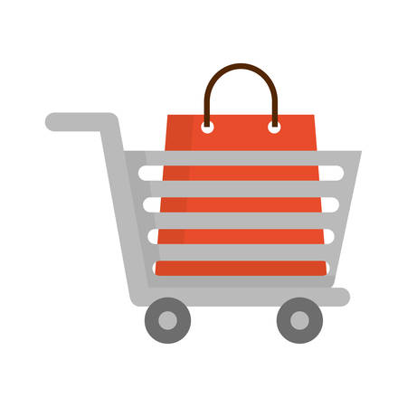 merchant: shopping cart icon over white background vector illustration