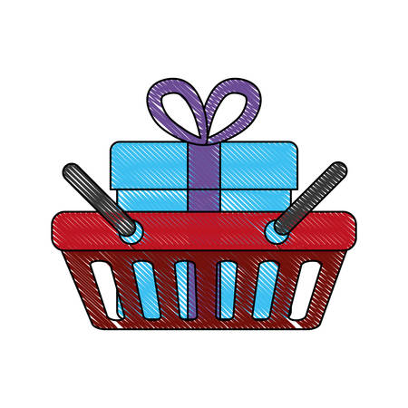 shopping basket with gift box icon over white background vector illustration