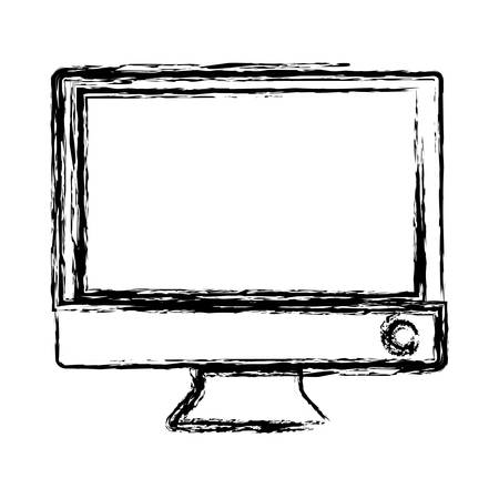 lcd display: computer icon over white background vector illustration