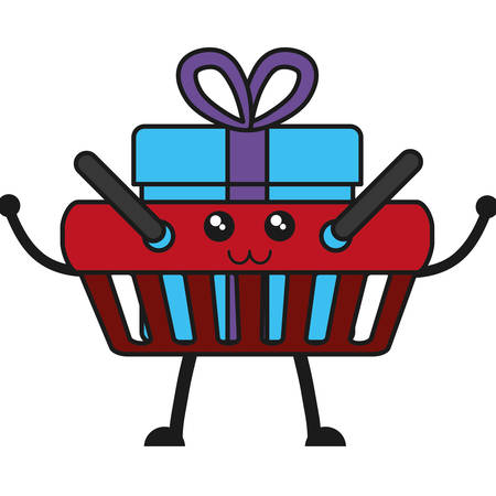 gift basket: shopping basket with gift box icon over white background vector illustration